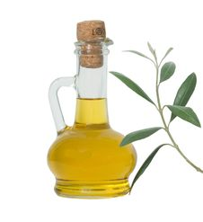 Bottle Of Olive Oil And Olive Branch Royalty Free Stock Image