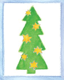 Beautiful Fur-tree Decorated By Stars Royalty Free Stock Photo