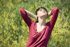 Free Relaxing Girl In The Grass. Stock Photo - 9962040