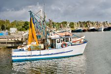 Free Fishing Trawlers Moored At Docks Royalty Free Stock Photo - 9962555