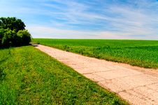 Free Concrete Road Going Through Green Field Stock Images - 9963174