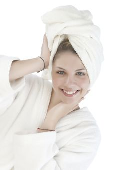 Free Beautiful Woman With A White Towel Stock Photography - 9963752
