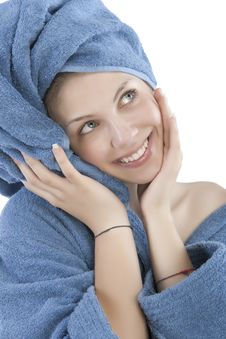 Free Young Woman Dressed Blue Bathrobe Stock Photo - 9964110