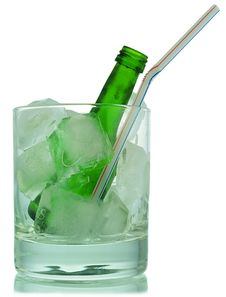 Free Cocktail:  Ice And Green Bottle Stock Image - 9965731
