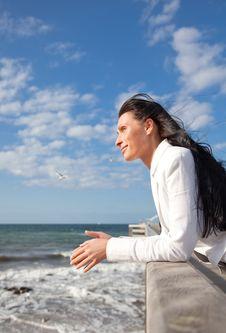 Free Confident Wind Sea Coast Woman Royalty Free Stock Photos - 9965818