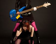 Rock Girls With Guitar Royalty Free Stock Photos