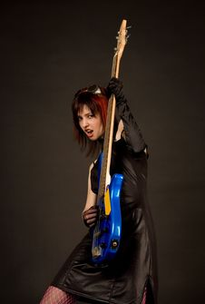 Free Rock Girl With Blue Bass Guitar Stock Photos - 9966413