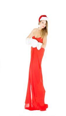 Attractive Santa Claus Girl Stock Photos