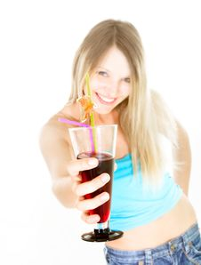 Free Attractive Girl With Glass Of Juice Royalty Free Stock Image - 9966656