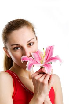 Free Nice Girl  With A Pink Lily Royalty Free Stock Images - 9966729