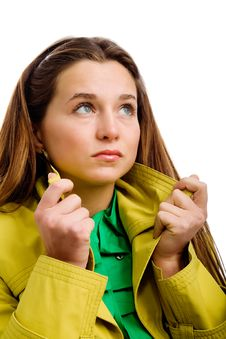 Free Woman In Yellow Raincoat Royalty Free Stock Images - 9966809