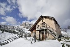 Refuge In The Alps Of Val Gardena Stock Photo