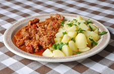 Goulash With New Potatoes Royalty Free Stock Images