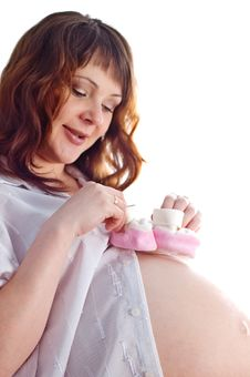 Smiling Beautiful Pregnant Woman Royalty Free Stock Photography