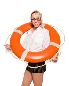 Businesswoman With Red Life Buoy Stock Image