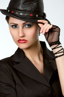 Free Young Fashionable Model With Black Hat Stock Photography - 9969502