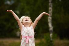 Free Young Girl Hands Up. Happy. Outdoors Stock Photo - 99622940