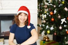 Young Girl Sitting Xmas Tree Stock Photo
