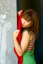 Free Portrait Girl Near Wall Stock Image - 9971401
