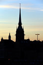 Free Silhouette Of Stockholm, The City Hall, Riddarholm Royalty Free Stock Photo - 9975885