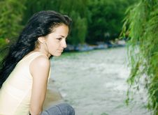 Free Pretty Girl By The Lake Stock Images - 9971004