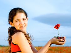 Free Portrait Teen Girl With Poppy Royalty Free Stock Image - 9971346