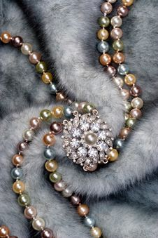 Free Nacklace On Fur Stock Image - 9974131