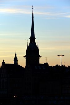 Silhouette Of Stockholm, The City Hall, Riddarholm Royalty Free Stock Photo