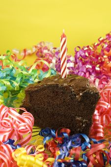 Birthday Party Chocolate Cake With Candle Stock Photography