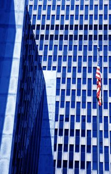 Free American Building With Flag Royalty Free Stock Image - 9976736