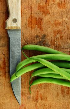 Free Fresh Green Beans With Knife Stock Photography - 9978342