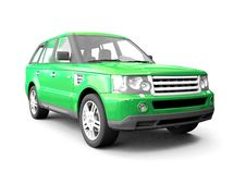 Four-wheel Drive Green Car Stock Images