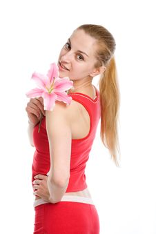Free Nice Girl With A Pink Lily Royalty Free Stock Photography - 9979597
