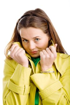 Free Woman In Yellow Raincoat Royalty Free Stock Images - 9979769