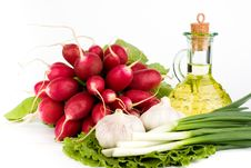Green Vegetables And  Bottle Of Oil Stock Photos