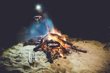Free Man With Headlamp Next To Campfire Stock Photography - 99789282