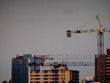 Free Distant Construction Cranes, On Toronto S Skyline, At Dusk, 2017 09 10 -i Royalty Free Stock Photography - 99789287