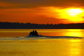 Free Sunset And Motor Boat Royalty Free Stock Photo - 9981585