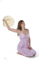 Free Pretty Teenage Girl Holding Straw Hat Up Royalty Free Stock Images - 9983469
