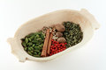 Free Colourful Spices On A Woodden Bowl Stock Images - 9985494