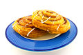 Free Cinnamon Buns On A Blue Plate Royalty Free Stock Photography - 9986797