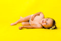 Free Little Girl On The Floor Over Yellow Stock Photos - 9988693