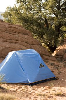 Campsite With Tent In Desert Royalty Free Stock Image