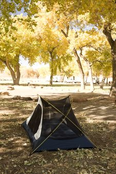 Quite Campsite With Tent Royalty Free Stock Image