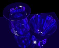 Free Blue Glass Vase And Goblet Stock Photography - 9980802