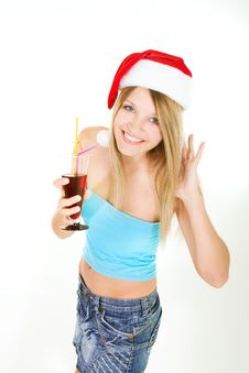 Santa Girl With Glass Of Juice Royalty Free Stock Photography
