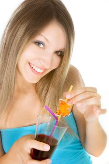 Free Beautiful Girl With Glass Of Juice Royalty Free Stock Photo - 9982435