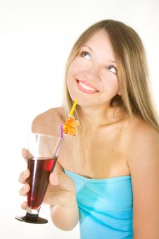 Free Beautiful Girl With Glass Of Juice Stock Photography - 9982462