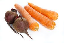 Free Three Big  Fresh Carrots And Two Beets Stock Photos - 9983173