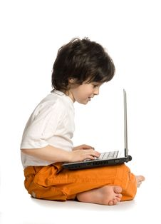 Free The Merry Boy With Laptop Stock Image - 9983231